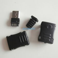 10X Micro USB Type-B 5 pin Male Plug Socket Connector & Black Cover With Tail