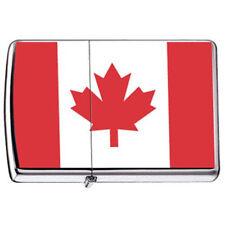 """Canadien Pride Patriotique """" Érable Feuille """" Drapeau De Canada Chrome Zippo"""