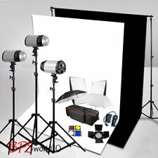Pro 750W Flash Lighting Kit White Black Backdrop Background Stand Softbox Clamps