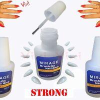 2x10g Nail Art Glue Brush Strong Adhesive Acrylic False Tips Rhinestones Glitter