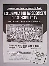 """1965 """"Indianapolis 500"""" Closed-Circuit TV Theater Showing PRINT AD -- 1964"""