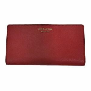Kate Spade New York Cameron Large Slim Bifold Wallet Red Pocketbook Damaged Nwot