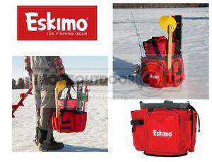 33540 Eskimo Ice Fishing Skimmer Chisel Beer 5 Gallon Bucket Supply Caddy REFURB