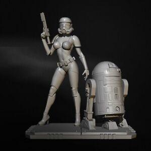 1/24 Resin Figure Model Kit Star Wars Girl Stormtrooper R2-D2 Unpainted Unassamb