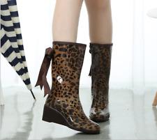 Patent Leather Womens Waterproof Mid Calf Boots Wedge Heel Shiny Biker Booties