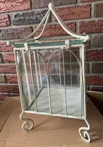 "Decorative Metal & Glass Terrarium, Bird House Shape Decor, 12x8x8"" New In Box"