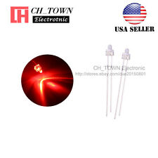 100pcs 2mm LED Diodes Water Clear Red Light Round Top Transparent USA