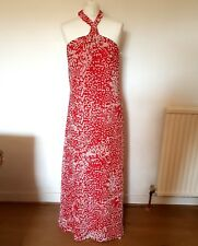 "FIRETRAP ""ELLA"" red white splodge print MAXI HALTERNECK dress S RRP £105 NEW TAG"