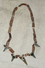 Shark Tooth necklace with 5 fossilized teeth