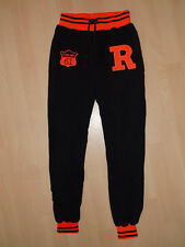 Girls Sport Pants Gym Trousers Black-Neon Orange Down Narrow Legs Size M