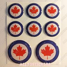 8 x Coccarda Canada Adesivi Resinati 3D TONDO Bandiera Aeronautica