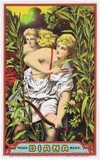 Diana Tobacco Plug Caddy Label XF-MT Hatch Lith Co, Washington DC, bow and arrow