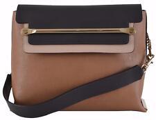 New CHLOÉ $2,460 Savanna Tan Colorblock Calf Leather Clare Purse Shoulder Bag