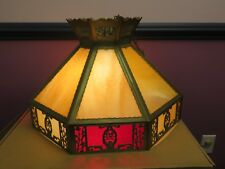 VINTAGE ENGLISH TUDOR TIFFANY STYLE SLAG GLASS HANGING LAMP LIGHT FIXTURE