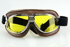 Aviator Motorcycle&Bicycle Scooter ATV Goggles Eyewear Tactical Silver Yellow T1