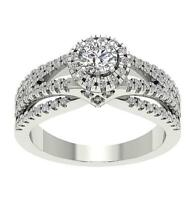 I1 G 1.25 Ct Natural Diamond Halo Solitaire Anniversary Ring 14K Gold 8.65 MM