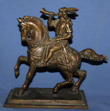 ANTIQUE SOLID BRONZE MEDIEVAL HORSEMAN HUNTER STATUETTE