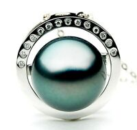 12mm Genuine Tahitian Black Pearl Diamond Pendant Pacific Pearls® Gifts For Wife