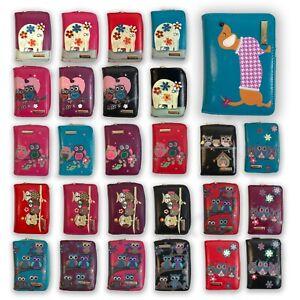 Kukubird Womens Wallets Purses Medium Size Cartoon Designs Animals Owl Dachshund