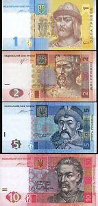 Ukraine 4 Pcs SET, 1 - 2 - 5 - 10 Hryvven 2013 to 2015, UNC, P-116A-117-118-119A