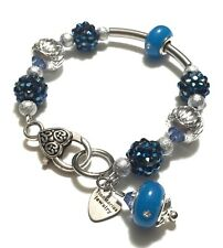 Blue Sliding Troll Bead, Star-Dust Beads, Large Lobster Claw Bracelet