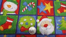 Christmas Squares OF Santa, Snowman, Tree, Star, Stocking, Candy Cane cotton BTY