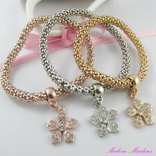 3pce Three Tone Rhinestone Flower Charm Stretch Popcorn Chain Bracelet Set