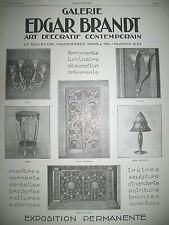 PUBLICITE DE PRESSE EDGAR BRANDT GALERIE ART DECORATIF FERRONERIE FRENCH AD 196