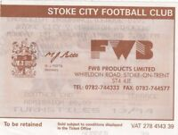 Ticket - Stoke City v Charlton Athletic 01.01.96