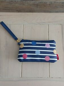JOULES Navy/White Stripe/Dots POUCH Gold Toned Hardware Cotton Canvas Lining NEW