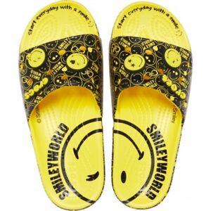 CROCS Smiley World Classic Slide Sandals Men's 8 Women's 10 Lemon Black