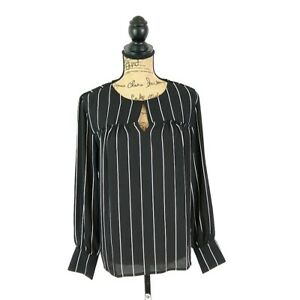 Ann Taylor Womens sz M Top Black Stripe Long Cuff Sleeve Keyhole Semi Sheer
