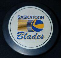 SASKATOON BLADES VINTAGE WHL SHIELD OFFICIAL INGLASCO CANADA HOCKEY PUCK