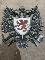 Cast Iron Coat Of Arms Hanging Plaque - Red Dragon Emblem - Antique Coat Of Arms