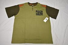 $40 NWT Mens Rocawear Regiment Graphic Henley Shirt Tee Olive Urban 3XB 3X N410