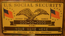 Metal Us Social Security Id Card Flags Gold Color Custom Engraved