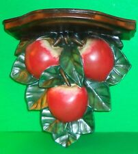 Beautiful Large Wall Sconce Shelf Red Apples and Green Leaves