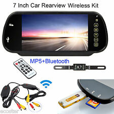"Wireless 7""HD Car Rear View Bluetooth Mp5 Monitor Mirror Night Vision Camera Kit"