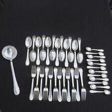 ménagère 37 couverts en métal argenté le couvert français 2 décors marly : filet