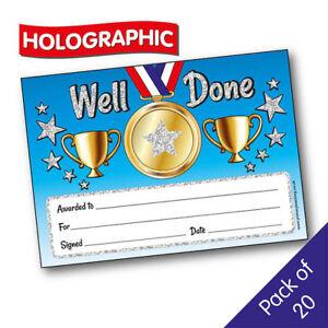 20 Sparkly Well Done Star School Teacher Childrens Reward Certificates A5 Kids