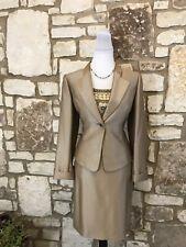 Tahari Luxe Petite Women's 3Pc Skirt Suit Golden Champagne Sequins & Beads 8P