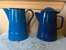 enamelware graniteware blue coffee pot & water pitcher