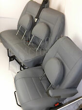 Renault Trafic Van  Seat Cover- Light Grey Quilted PVC Leather-Made to Measure