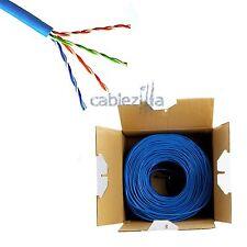 CAT5E 1000FT 24AWG UTP SOLID Blue NETWORK ETHERNET CABLE BULK WIRE RJ45 LAN