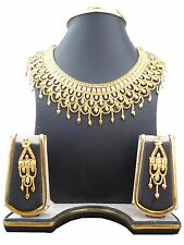 Indian Bollywood 22K Gold Plated Traditional Wedding Necklace Earrings Set B