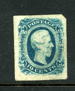 USA 1863 10c blue Confederate States (10 Cents) Die B mint no gum. SG 13