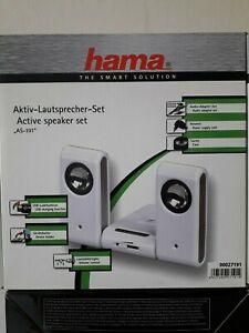 Hama Aktiv-Lautsprecher-Set AS-191 Weiß inkl.Netzteil und Tasche  NEU
