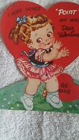 Vintage Valentine's Day Card Ameri Card Heart Girl Ballerina