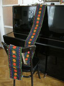 Vintage Swedish Mid-century Long Table Runner Hemp Scandinavian fruits 60's