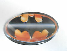 VINTAGE PINBACK BUTTON #73-070- OVAL - BATMAN LOGO #3 BLACK